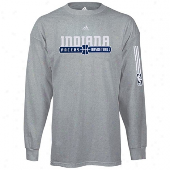 Indiana Pacers Appardl: Adidas Indiana Pacers Dark Ash Ball Hoeizon Long Sleeve T-shirt