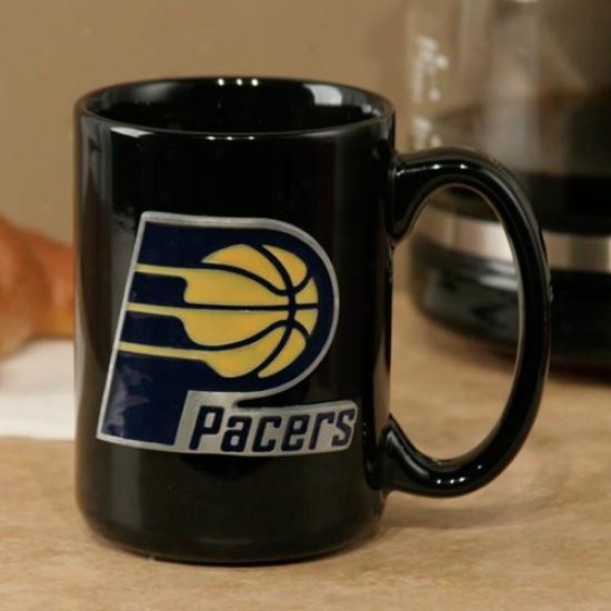 Indiana Pacers Black 15oz. Pewter Logo Ceramic Mug