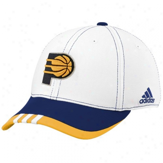 Indiana Pacers Caps : Adidas Indiana Pacers White On Court Flex Fit Caps