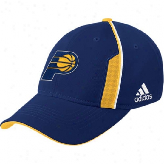 Indiana Pacers Hats : Adidas Indiana Pacers Navy Blue Official Team Flex Fit Hats