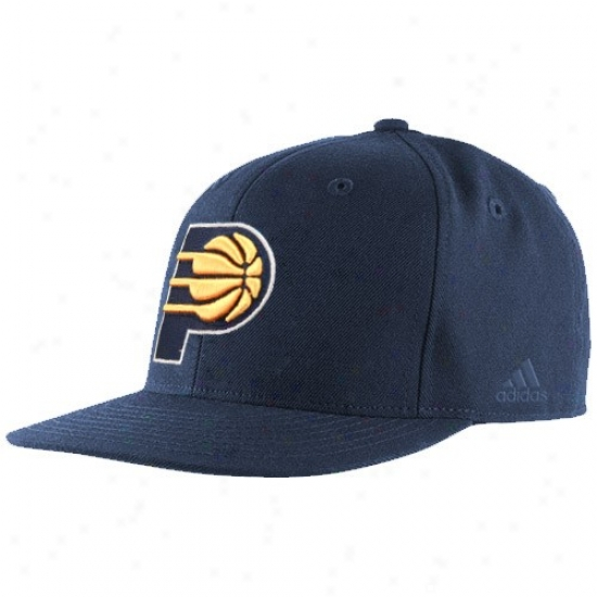 Indiana Pacers Hats : Adidas Indiana Pacers Navy Blue Bank Shot Fitted Hats