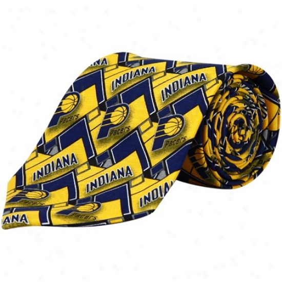 Indiana Pacers Navy Blue-gold Block Pattern Tie