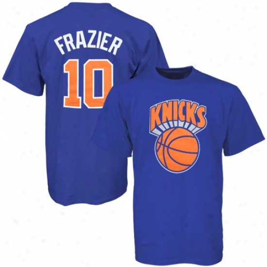 Knicks Apparel: Majestic Knicks #10 Walt Frazier Royal Blue T-shirt