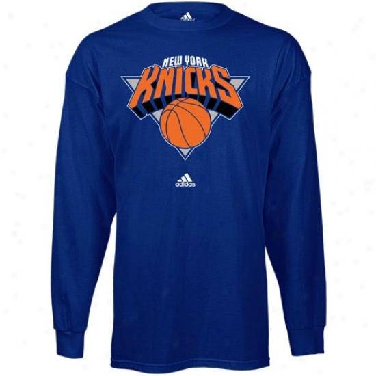 Knicks Tshirts : Adidas Knicks Royal Blue Primary Logo Long Sleefe Tshirts