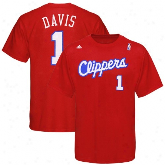 Los Angeles Clippers pAparel: Adidas Los Angeles Clippers #1 Baron Davis Red Player T-shirt