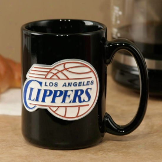 Los Angeles Clippers Black 15oz. Pewter Logo Ceramic Mug