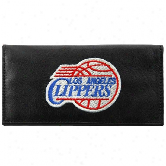 Los Angeles Clippers Black Leather Embroideredd Checkbook Cover