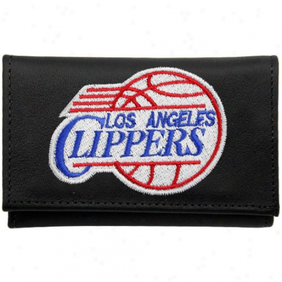 Los Angeles Clippers Black Leather Embroidered Tri-fold Wallet