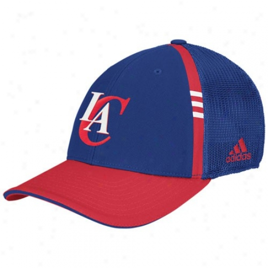 Los Angeles Clippers Caps : Adidas Los Angeles Clippers Royal Blue On Court Flex Fit Caps