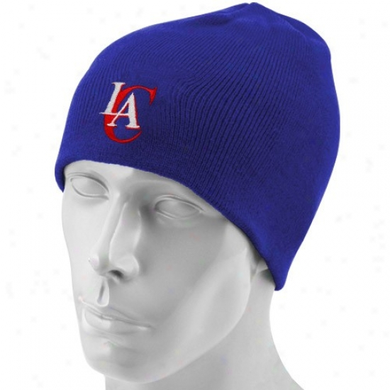 Los Angeles Clippers Gear: Adidas Los Angeles Clippers Royal Blue Basic Logo Join Beanie