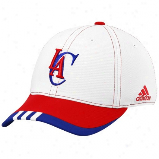 Los Angeles Clippers Gear: Adidas Los Angeles Clippers White On Court Flex Fit Hat