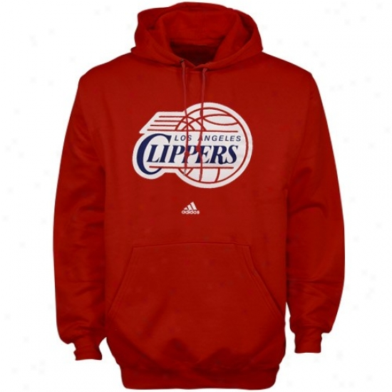 Los Angeles Clippers Hkodies : Adidas Los Angeles Clippers Red Full Primary Logo Hoodies