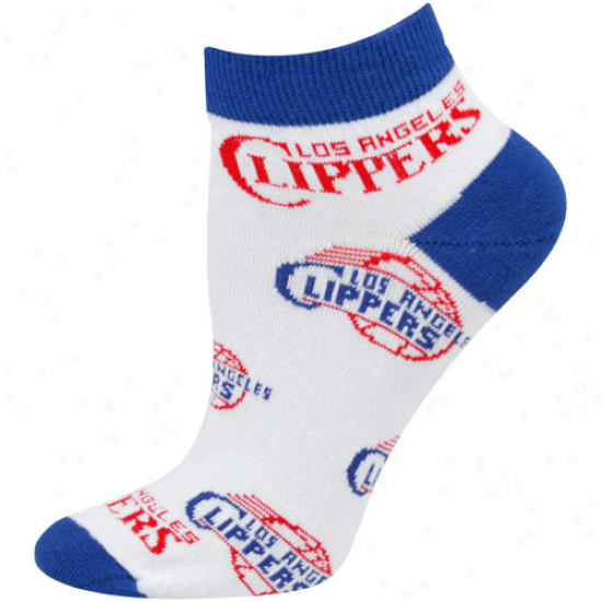 Los Angeles Clippers Ladies White All Over Team Logo Ankle Socks