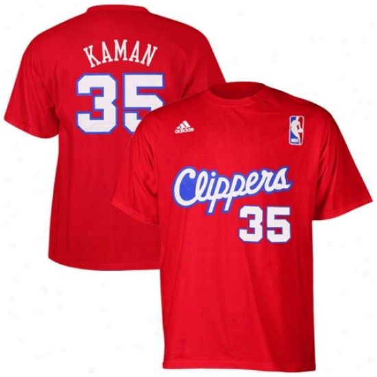 Los Angelea Clippers Shirt : Adidas Los Angeles Clippers #35 Chris Kaman Red Player Shirt