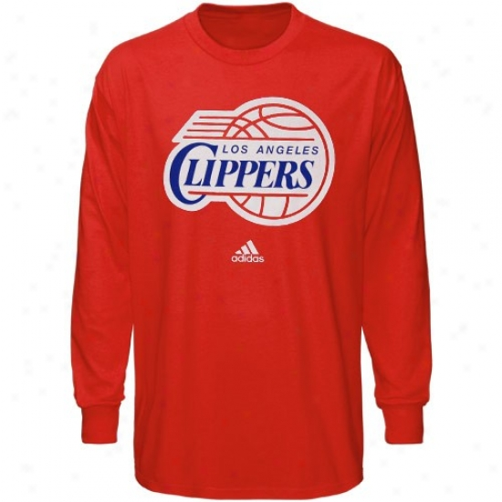 Los Angeles Clippers Shirt : Adidas Los Angeles Clippers Youth Red Primary Logo Long Sleeve Shirt