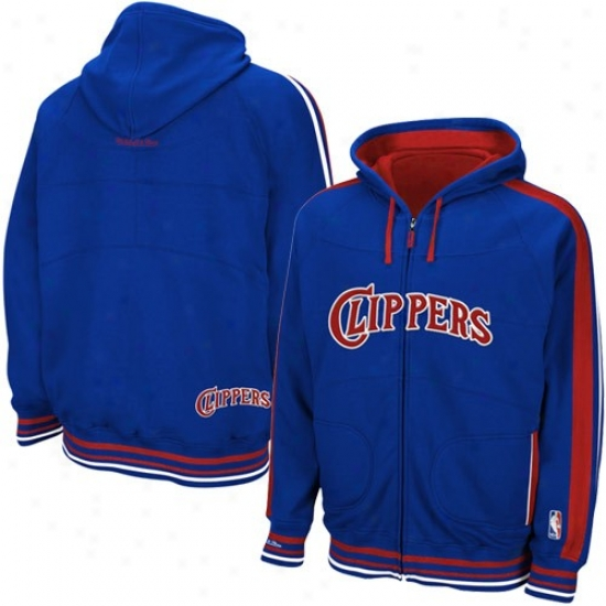 Los Angeles Clippers Sweat Shirts : Mitchell & Ness Los Angeles Clippers Royal Blue Judicial tribunal Vision Full Zip Sweat Shirts