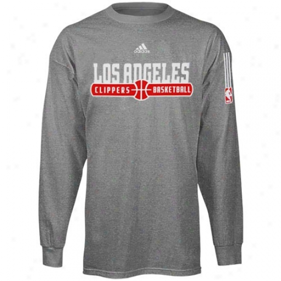 Los Angeles Clippers T Shirt : Adidas Los Angeles Clippers Daro Gray Ball Horizon Long Sleeve T Shirt
