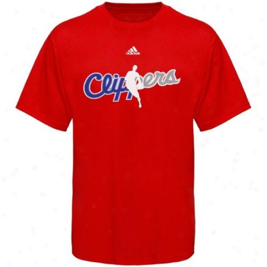 Los Anyeles Clippers Tshirt : Adidas Los Angeles Clippers Red 2010 Draft Dribbler Tshirt