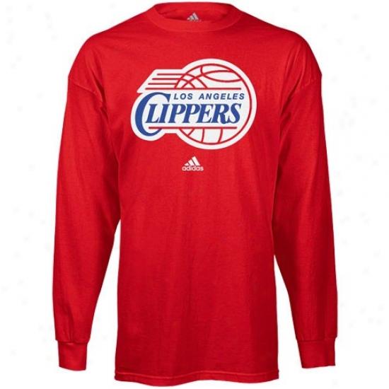 Los Angeles Clippers Tshirt : Adidas Los Angeles Clippers Red Radical Logo Long Sleeve Tshirt