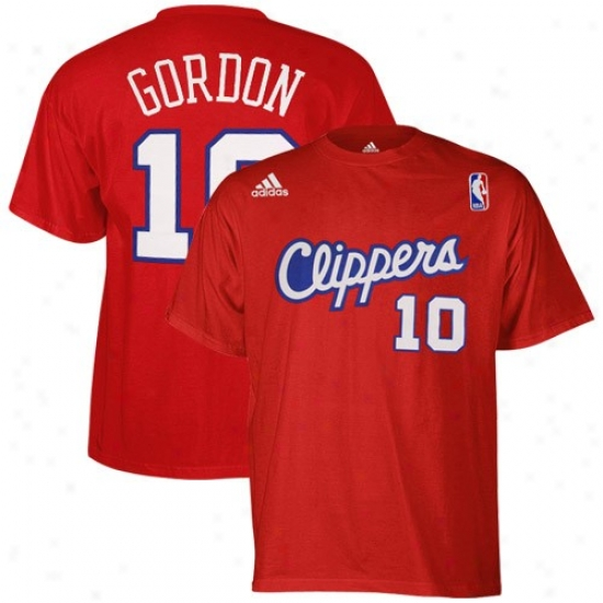 Los Angeles Clippers Tshirts : Adidas Los Angeles Clippers #10 Eric Gordon Red Net Actor Tshirts