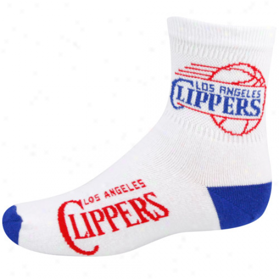 Los Angeles Clippers Youth White Team Logo Crrw Socks