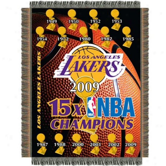Los Angeleq Lakers 15-time Nba Champions 48'' X 60'' Blanket