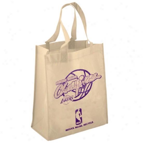 Los Anglees Lakers 2009 Nba Champions Natural Reusable Tote Bag