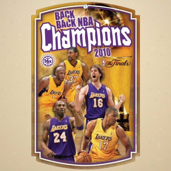"""los Angeles Lakers 2010 Nba Champions 11"""" X 17"""" Wood Sign"""