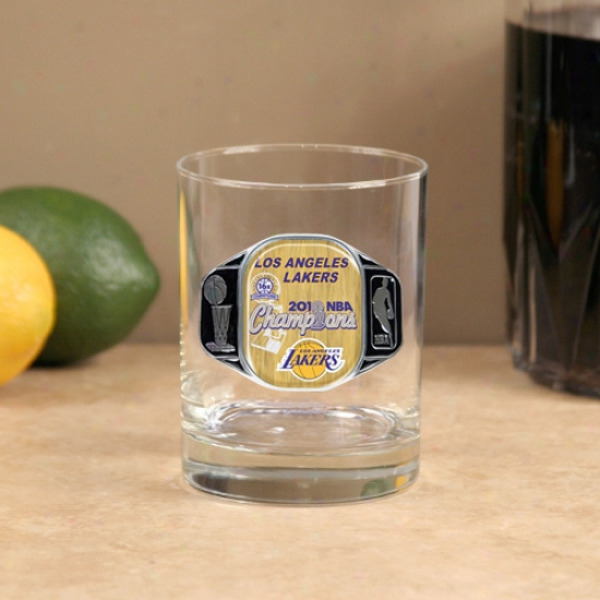 Los Angeles Lakers 2010 Nba Champions 14oz. Pewter Logo Rocks Glass