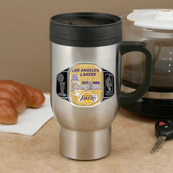 Los Angeles Lakers 2010 Nba Champions 15oz. Unsullied Steel C-handle Travel Mug