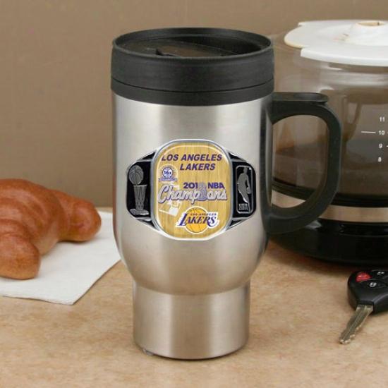Los Angeles Lakers 2010 Nba Champions 15oz. Unsullied Steel C-handle Travel Mug