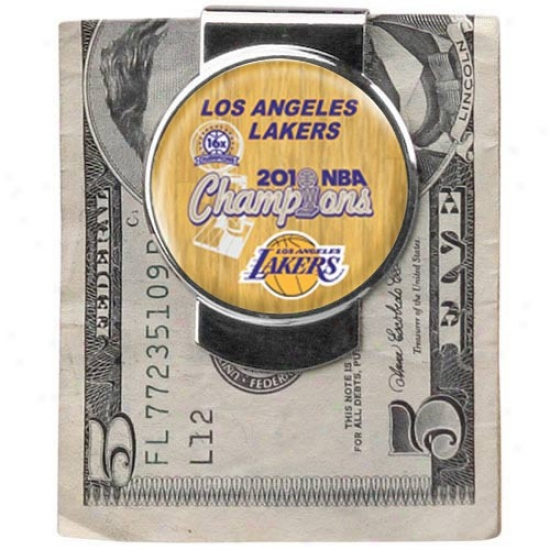 Los Angeles Lakers 2010 Nba Champions 16-time Champs Silvertone Wealth Clip