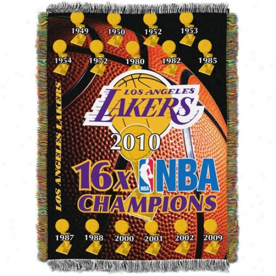 Los Angeles Lakers 2010 Nba Champions 16-time Champs Triple Layered Jacquard Blanket Throw