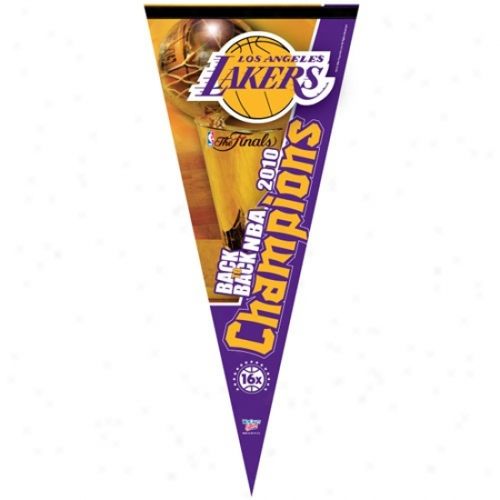 """los Angeles Lakerrs 2010 Nba Champions 17"""" X 40"""" Back-to-back Champions Vertical Premium Felt Pennant"""