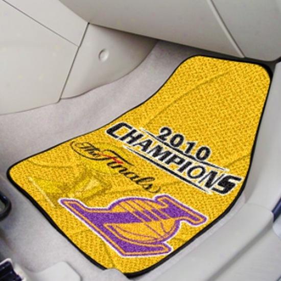 Los Angeles Lakers 2010 Nba Champiohs 2-pack Carpeted Car Mats