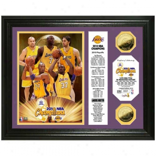 Los Angeles Lakers 2010 Nba Champions 24kt Gold Coin Banner Photo Mint