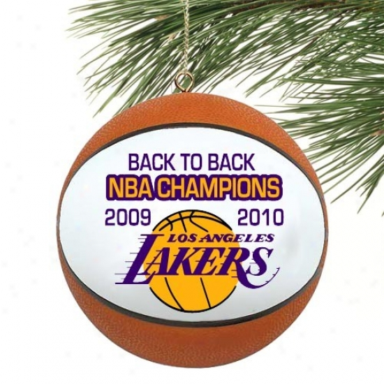 Los Angeles Lakers 2010 Nba Cnampions Back-to-back Champs Mini Basketbalo Ornament