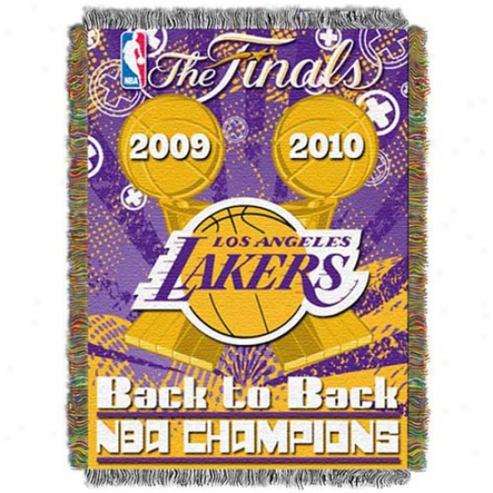 """los Anegles Lakers 2010 Nba Champions Back-to-back Champs 48"""" X 60"""" Triple Layered Jacquard Blanket Throw"""