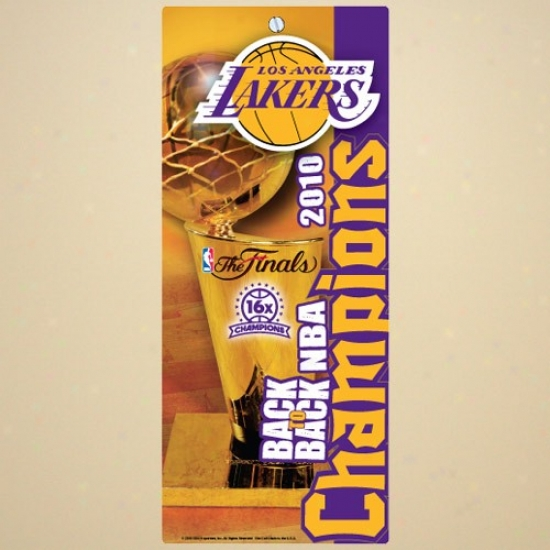 """""""los Angeles Lakers 2010 Nba Champions Back-to-back Champs 6"""""""" X 13"""""""" Wood Sign"""""""