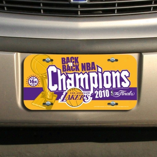 Los Angeles Lakers 2010 Nba Champions Back-to-back Champs Plastic License Plzte