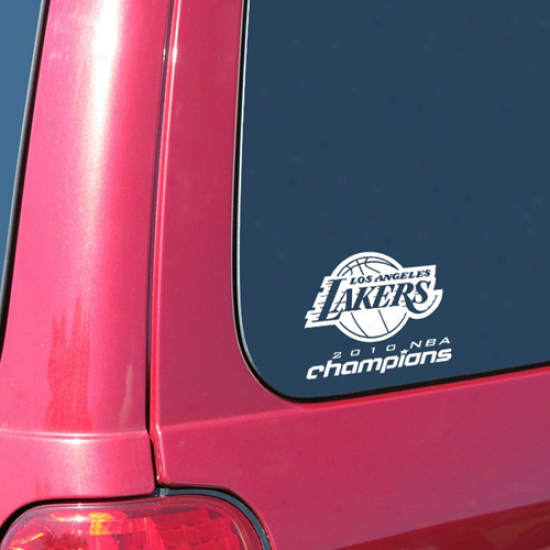 """los Angeles Lakkera 2010 Nba Champions Back-to-back Champs 5"""" X 6"""" Small Decal"""
