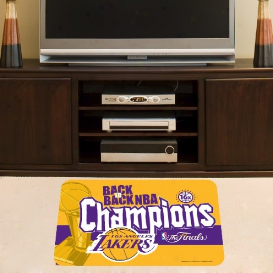 """los Angeles Lakers 2010 Nba Champions Back-to-back Champs 20"""" X 30"""" Mat"""