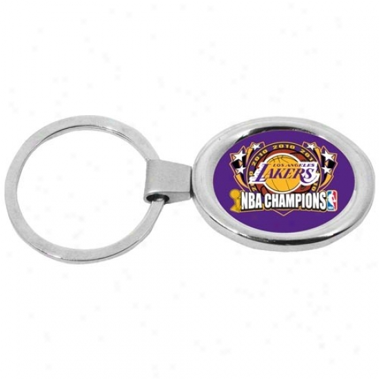 Los Angeles Lakers 2010 Nba Champions Deluxe Oval Keychain