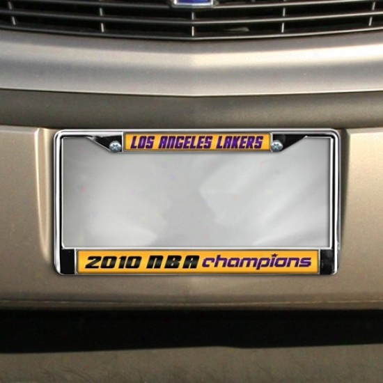 Los Angeles Lakers 2010 Nba Champions Laser Chrome License Plate Frame