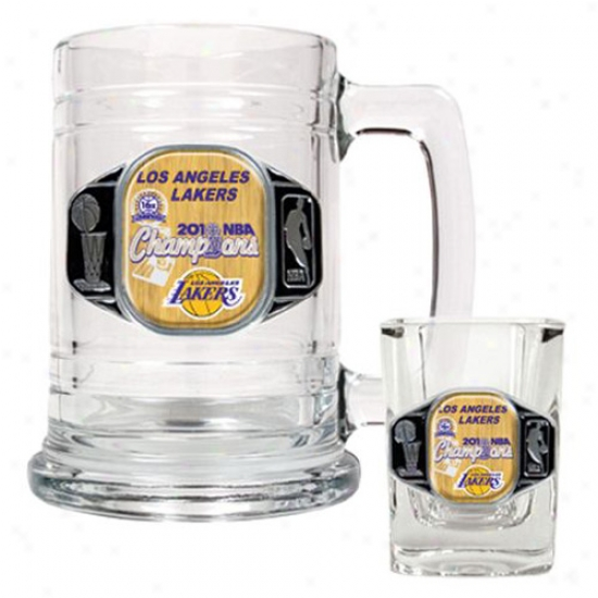Los Angeles Lakers 2010 Nba Champions Pewter Logo Glass Tankard & Regulate Shot Glass Set