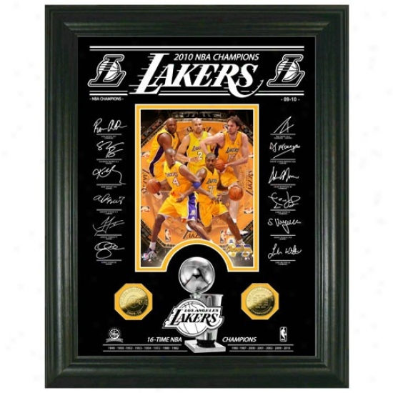 Los Angeles Lakers 2010 Nba Champions Signature Archival Etched Glass2 4kt Gold Coin Photomint