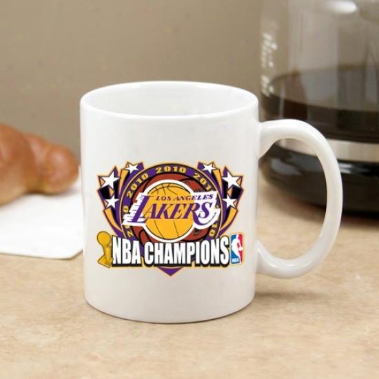 Los Angelex Lakers 2010 Nba Champions White 11oz. C-handle Mug