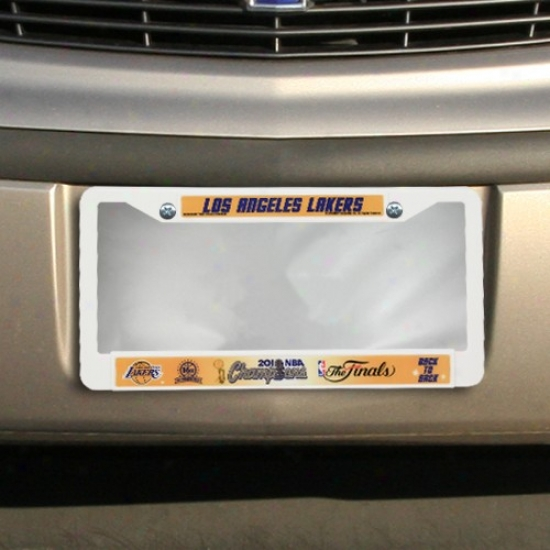 Los Angeles Lakers 2010 Nba Champions White Plastic License Plate Cover