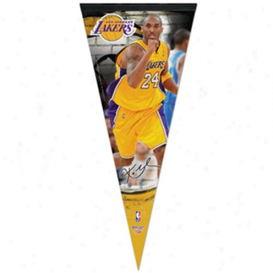 Los Angeles Lakers #24 Kobe Bryant Gold 17'' X 40'' Player Felt Pennant