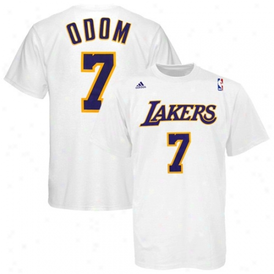 Los Angeles Lakers Apparep: Adidas Los Angeles Lakers #7 Lamar Odom White Player T-shirt